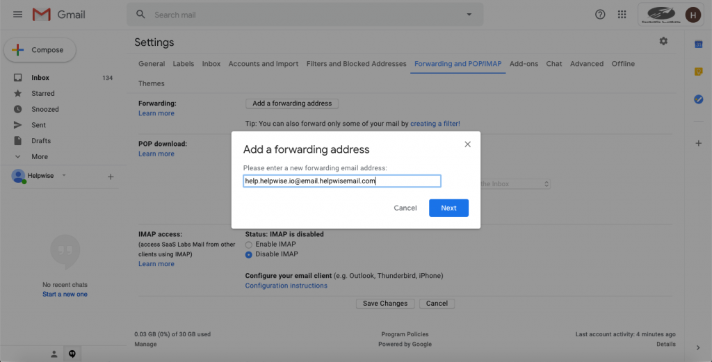 add forwarding address on gmail.