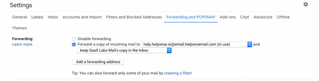 Gmail forward a copy to Helpwise