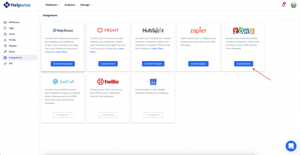 connect zoho button in helpwise