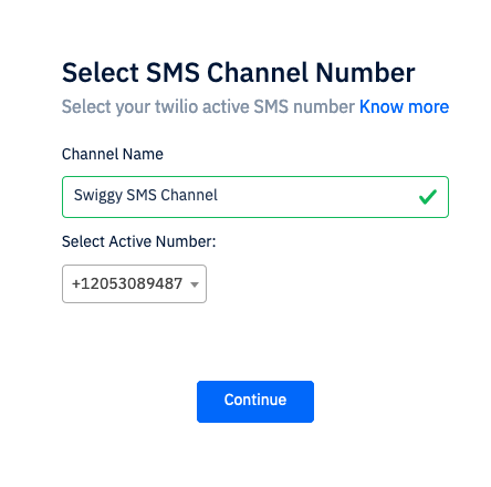 select Twilio number
