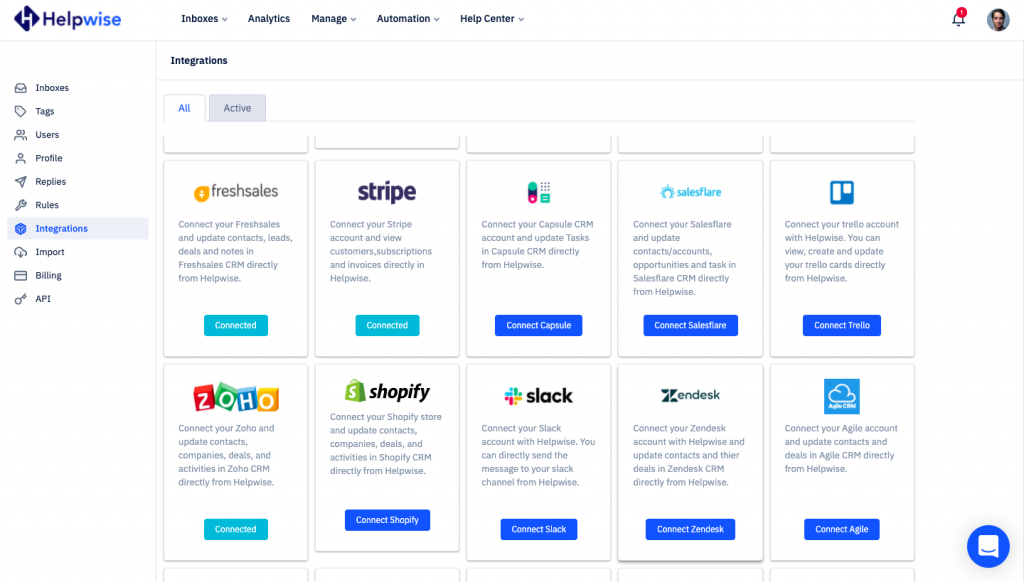 Helpwise integrations section