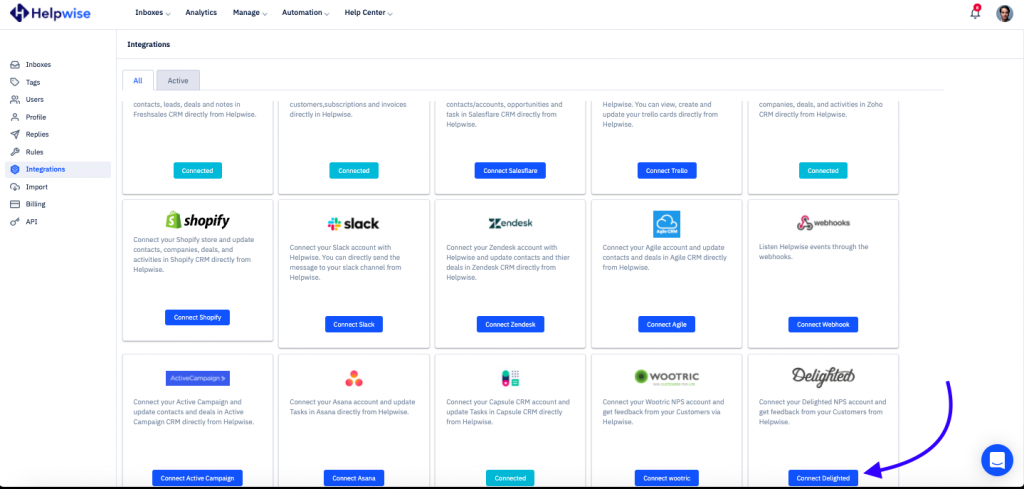 Helpwise integrations page
