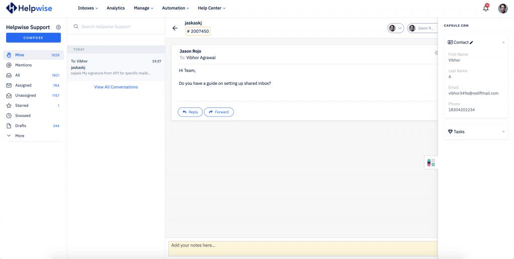 capsule crm shared inbox integration
