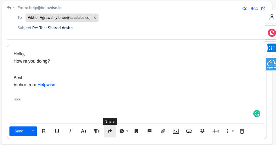 Click on the share button in the Helpwise editor while replying.