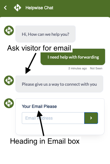 In Message email form customization